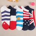 1 Pair Fashion Women Flag Ankle Socks Low Cut Crew Casual Cotton Blend Sock