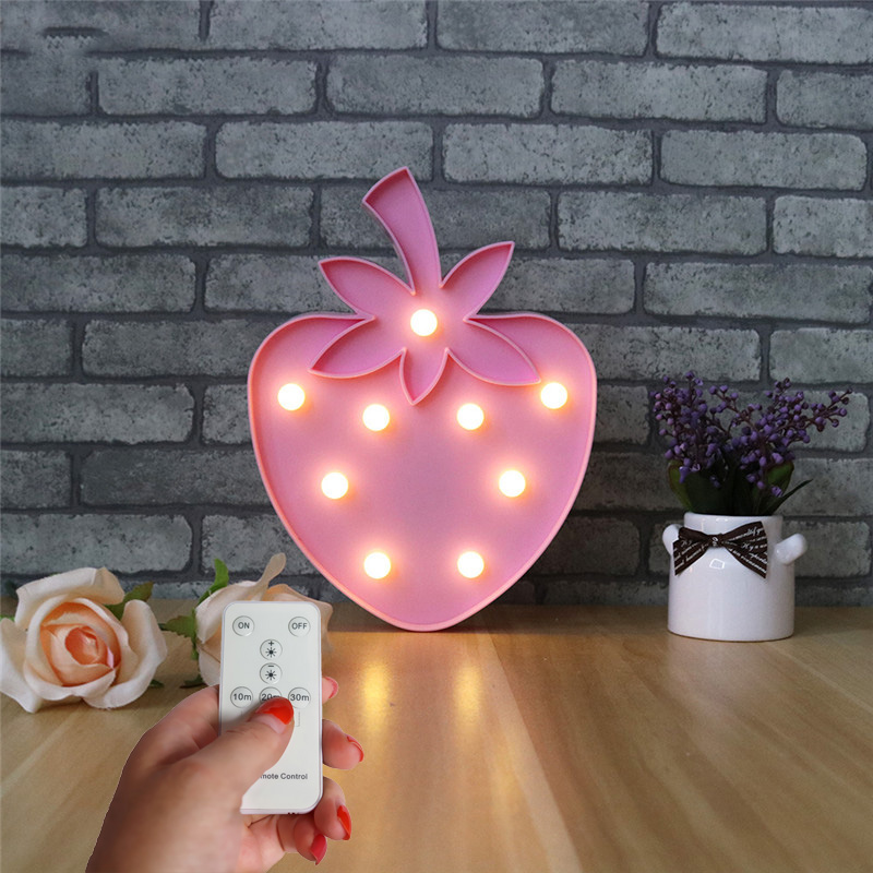 Jiaderui Strawberry Remote Control 3D LED Baby Table Lamp Kids Night Light Home Decorate Children Birthday Holiday Creative Gift remote control led light creative monje smart air purifier wireless night lights sensor lamps gift table desk lamp