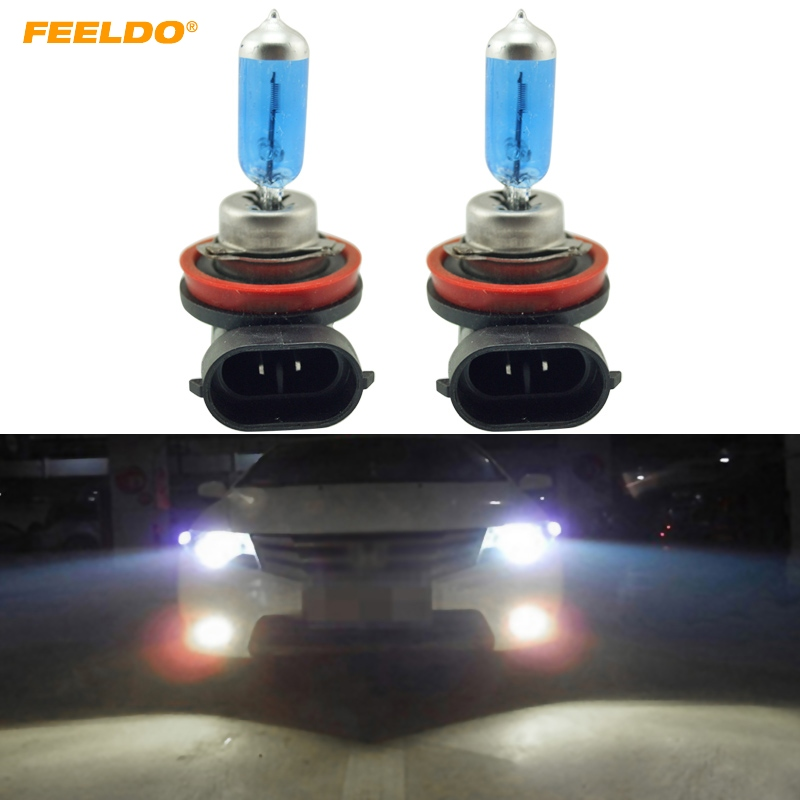 FEELDO 2Pcs <font><b>White</b></font> <font><b>H8</b></font> 35W <font><b>Halogen</b></font> Bulb Car Headlights Lamp Car Light Source #FD-2240 image