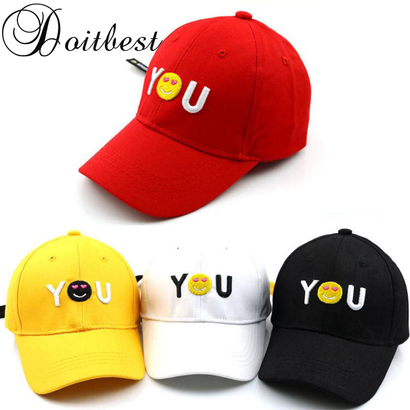 2018 Korea Children Hip Hop Baseball Cap Summer kids Sun Hat YOU Smile face Boys Girls snapback Caps age for 2 to 8 years old