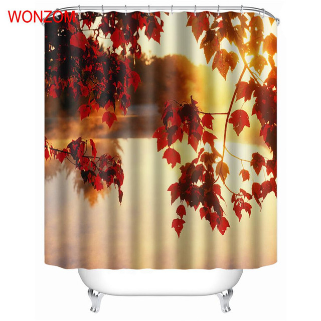WONZOM Autumn Leaves Shower Curtains With 12 Hooks For Bathroom Decor Modern Landscape Bath Waterproof Curtain