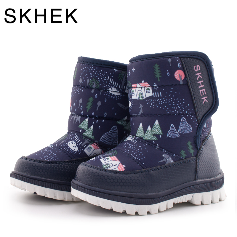 SKHEK Winter Children Round Toe Snow Boots For Girls Boys Flat With Ankle Kids Rubber Boots