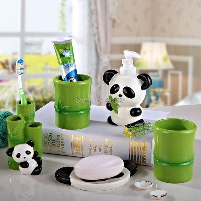 Panda Resin Five Pieces Bath Set Bathroom Accessories Creative Wedding