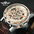 Женские и мужские механические часы WINNER  кожаный ремешок для часов  часы из нержавеющей стали с корпусом скелета  2019