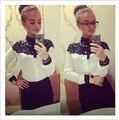 Новый 2016 Европейская Мода Кабо-стиле кружева С Длинным Рукавом шифон Блузки Рубашки Для Женщин Весна/Осень Горячие Продажа топы Бесплатная доставка