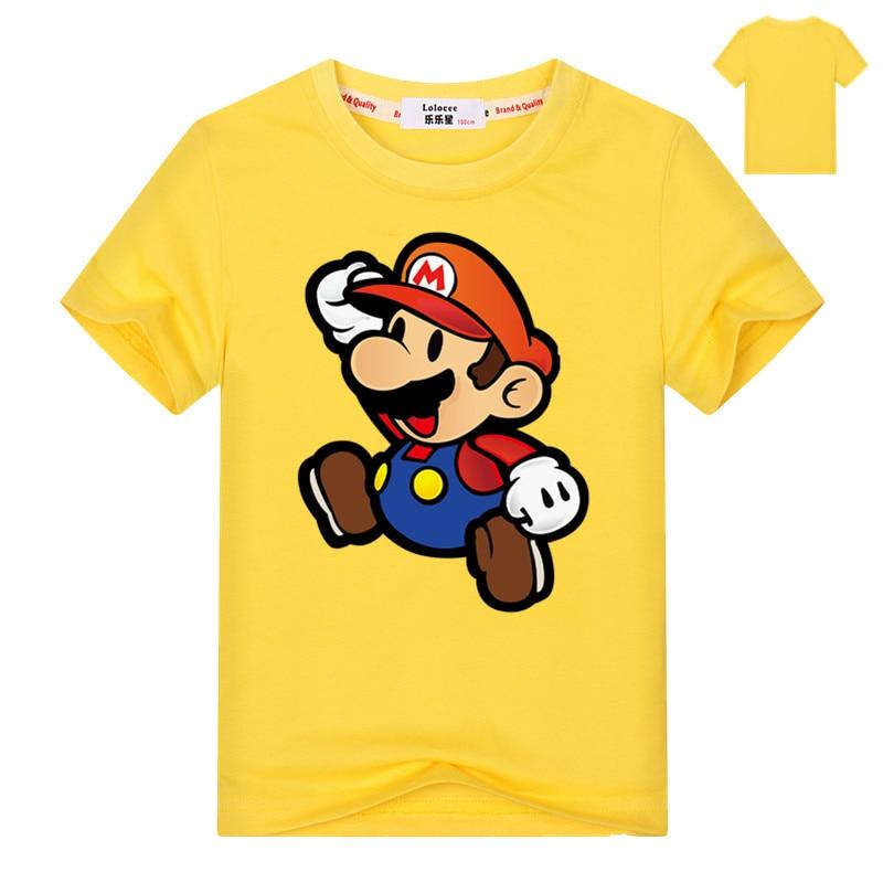 2021 Mario Cartoon Game T-shirt Kids Hip Hop Short Sleeve TShirts Boys Girls Super Mario Tee Shirts Casual Basic Tops 3-13y 3