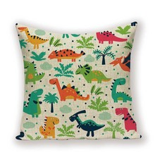 Dinosaur Cushion Cover Case  Animal Cartoon Colorful Covers for Cushions Children Cute Decorative Throw  Pillow Cases on Pillows