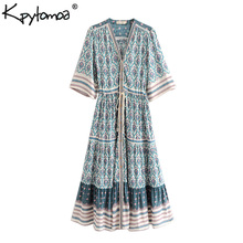 Boho Vintage Floral Print Pleated Long Dress Women 2019 New Fashion Bandage V Neck Summer Beach Dresses Casual Femme Vestidos