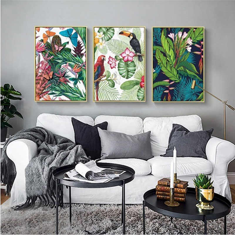 Nordic Flowers Green Plant Bird Poster Minimalist Art Print Toucan Parrot Wall Pictures Flamingo Canvas Painting Kids Room Decor