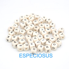 100pcs DIY jewerly accessory Spacer 10MM Square shape cartoon wooden Alphabet beads wood color Letter Beads Bracelet Department