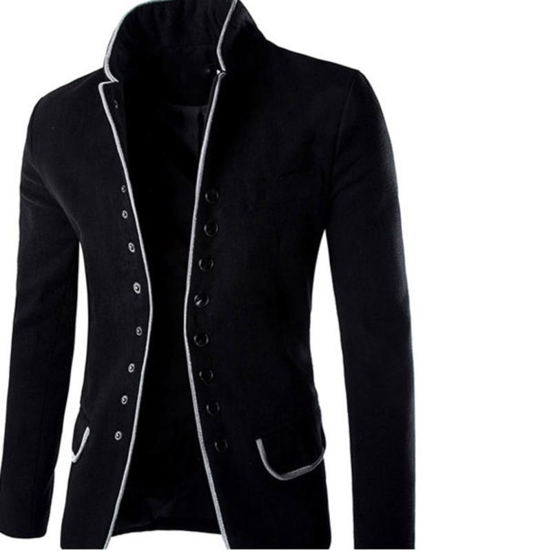 Stand Collar Coat Slim Fit Suit Button Jacket Overcoat Blazers  5