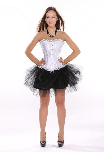 8fcff546d Cetim partido sext corset branco lace up desossado lingerie e renda preta  saia tutu showgirl dança