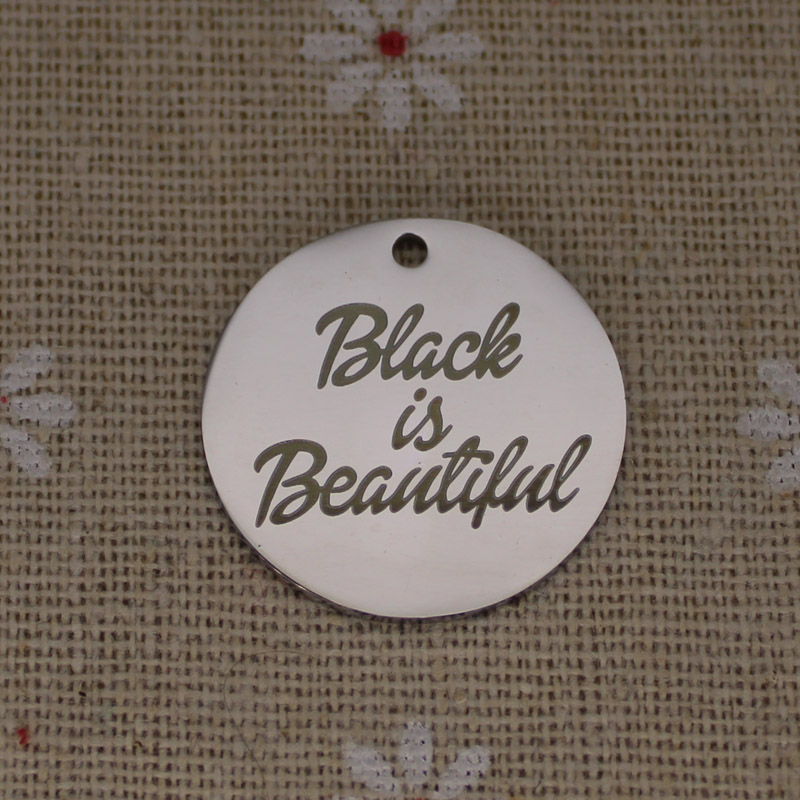 Ladyfun 2019 Customizable Stainless Steel Charm Afro Pendant Black Is Beautiful Charms for jewelry making in Charms from Jewelry Accessories