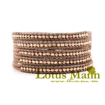 Lotusmann classic sterling silver grey rose gold 5 wraps bracelet