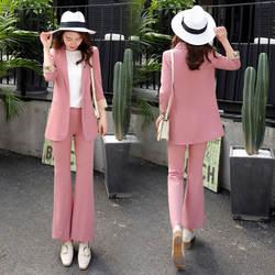 Для женщин модные повседневные Тонкий костюм два-Костюм из нескольких предметов (куртка + Штаны) Для женщин офисные Профессиональный