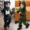 Otoño invierno coreano ropa de niños sets muchacha de los muchachos trajes dinosaurio Monster Superman ropa de los niños de kinder topolino masha oso
