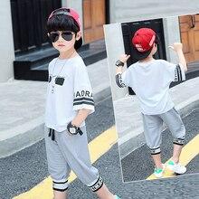 цена 2019 summer boys clothes sport  set fashion casual glasses print shirt  and pant children's clothing set 2 pieces set TTX359T онлайн в 2017 году