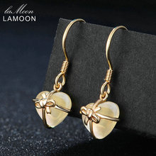 LAMOON Romantic Heart 100% Natural Citrine 925 Sterling Silver Jewelry 14K Yellow Gold Plated Drop Earrings S925 LMEI013