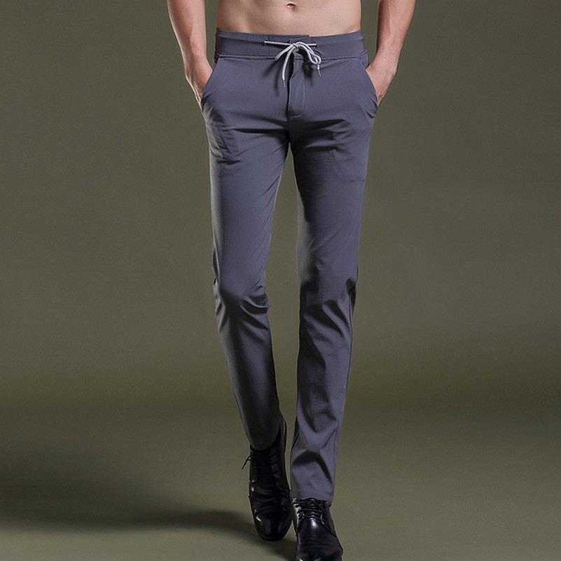 Stretch Slim Fit Lacing Waist Leisure Mens Trousers All Match Casual Fashion Pants for Male