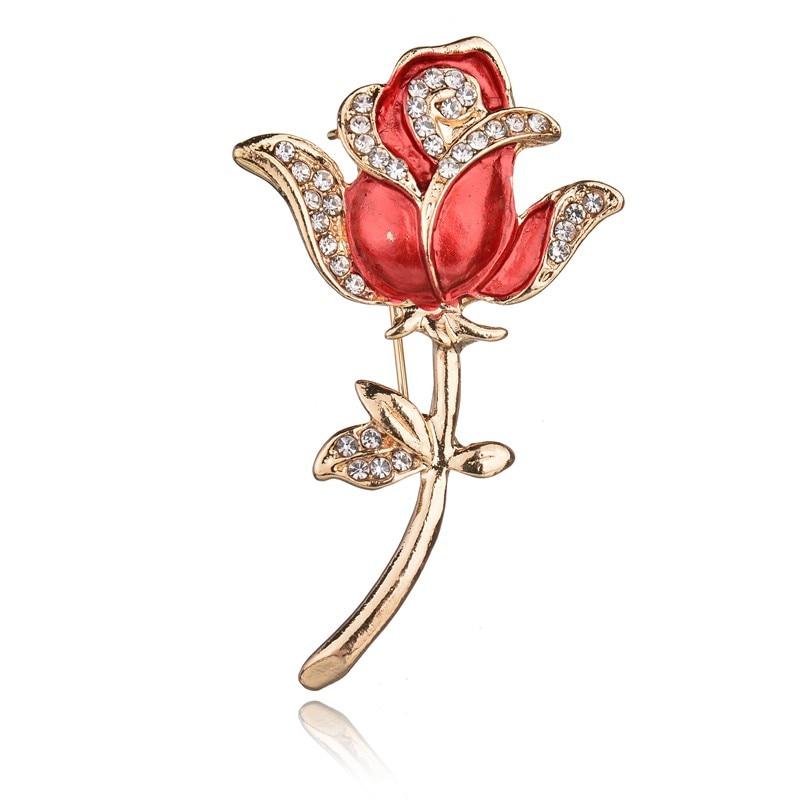 MissCyCy Elegant Rose Flower Brooch Pin Fashion Rhinestone