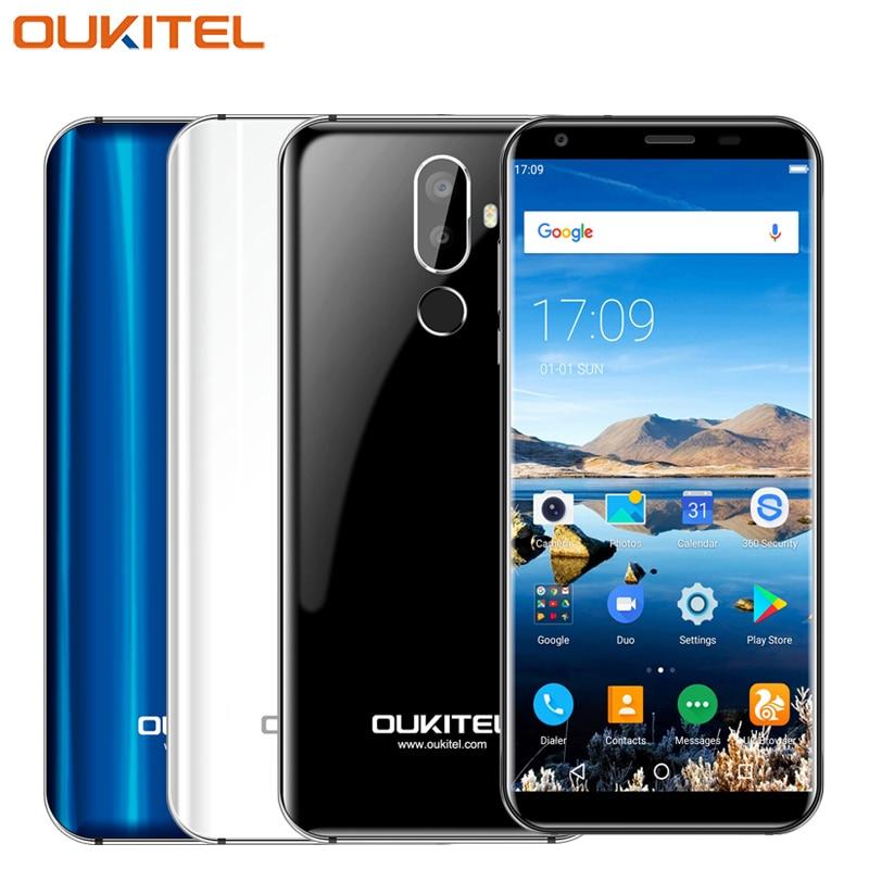 Original Oukitel K5 Mobile Phone 5.7inch Screen 2GB RAM 16GB ROM MTK6737T Quad Core Android 7.0 Three Cameras 4000mAh Smartphone