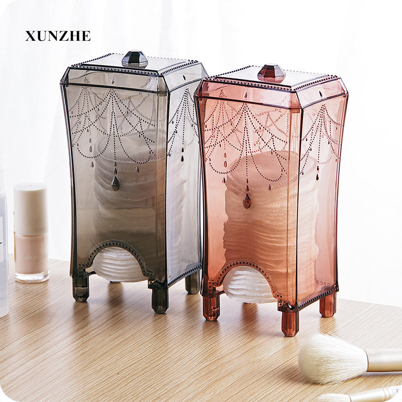 1Pcs Makeup Organizers make up cotton transparent plastic storage box container cosmetic remove makeup up Cotton organizer table ...