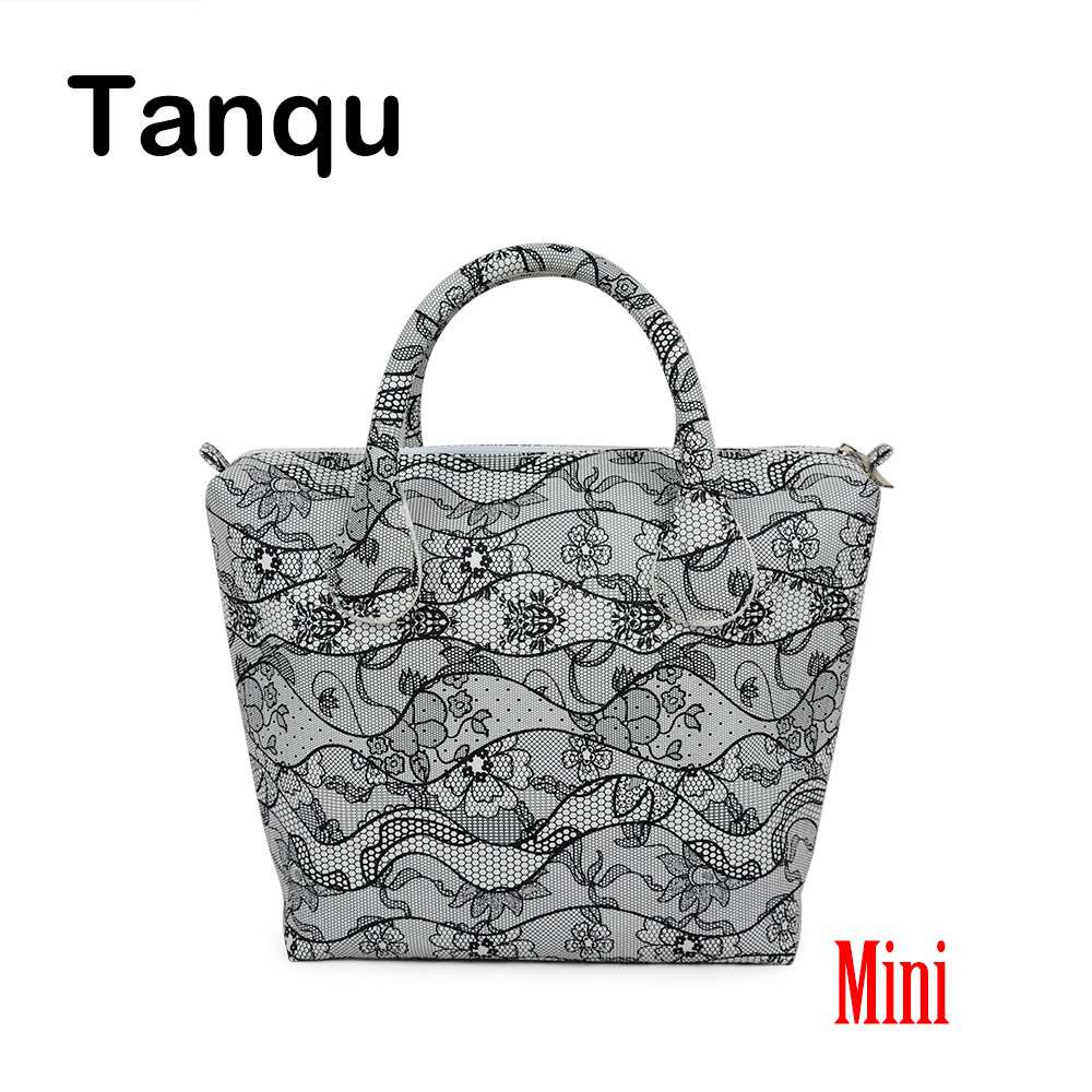 TANQU Mini Waterproof Faux PU Leather Floral Insert Inner Pocket Plus Handle Combination for Mini Obag O Bag Women Handbag tanqu new mini floral print pu leather lining waterproof insert zipper inner pocket for mini obag eva o bag women handbag