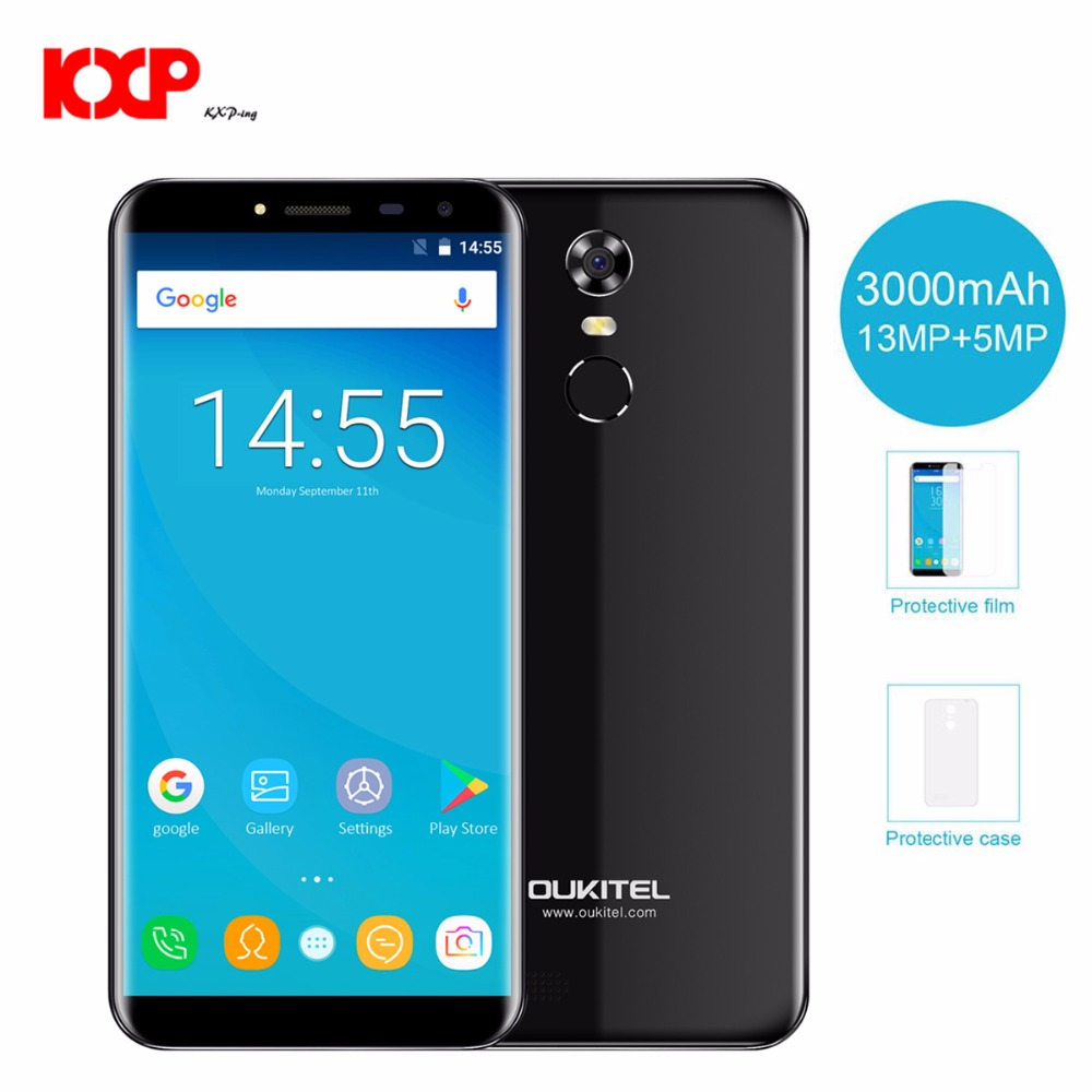 Oukitel C8 5.5HD 18:9 Aspect Ratio Mobile Phone Quad Core 1.3GHZ 2GB/16GB ROM 13MP Android 7.0 3000mAh Rear Touch ID Smartphone