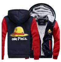 Japanese Anime One Piece Luffy Straw Hat Skull Cosplay Costume winter Hoodie thicken fleece jacket coat hoodies