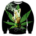 Bad! 3D Mary Jane Smoke Weed Realistic Printed Men Sweatshirts Hoodies Jumper Tops For Unisex Sportwear Plus Size 5XL