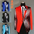Male paillette suits male singer DJ formal dress the groom suit paillette costume Wedding Slim Fit Groom  For Men