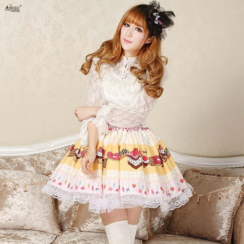 2018 Cake&ice Cream Printed Lolita Skirts Yellow Polyester Lace Princess Party Fresh Sweet