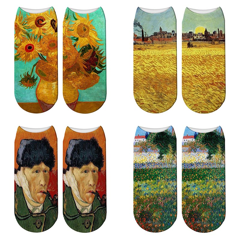 New 3D Print Oil Painting Van Gogh Socks Women Starry Night Sunflowers Cotton Socks Personality Art World Famous Painting Socks