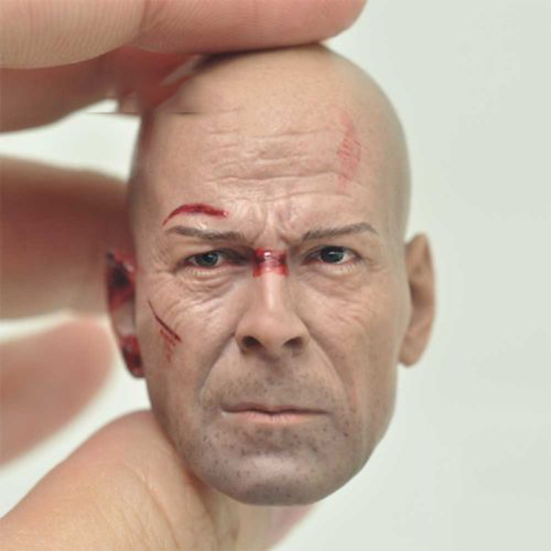 1/6 Bruce Willis Die Hard Male Head Sculpt For 12 Hot Toys Figures Freeshipping 1 6 scale the game of death bruce lee head sculpt and kungfu clothes for 12 inches figures bodies