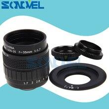 Объектив для видеокамеры FUJIAN 35 мм F1.7 CCTV + Крепление C + макрокольцо для Panasonic Micro 4/3 m4/3 GF5 GF6 GX1 GX8 GX7 G85 G7 GH5s GH4 GH2 GH3