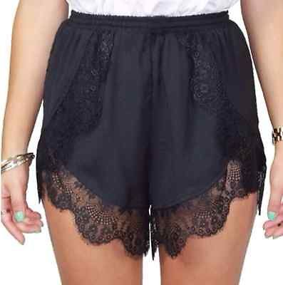 New 2016 Womens Ladies Summer Shorts Sexy Crochet Lace Casual Hotsale Black White Elastic Shorts