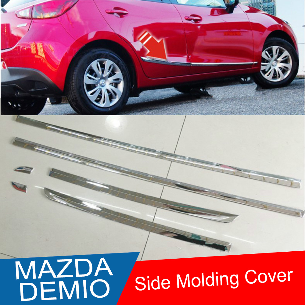 KOUVI FIT FOR 2015 2016 2017 MAZDA DEMIO DJ DL CHROME SIDE DOOR LINE LINING GARNISH BODY MOLDING TRIM COVER PROTECTOR ACCENT car styling body trim for mazda 3 axela 2014 2017 sedan car side door body molding trim cover line garnish protector accessories