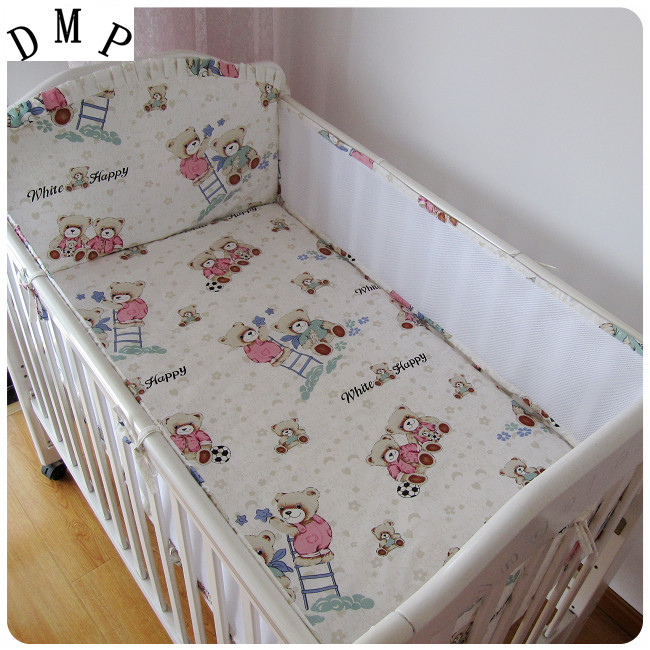 Promotion! 5PCS Mesh Bear Cot Bedding Set Bumper Sheet Cotton Baby Boy Bedding Crib Sets Bumper (4bumpers+sheet)