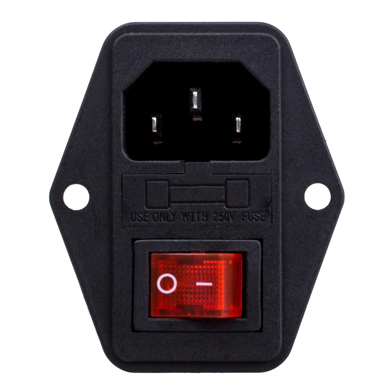 3 Pin IEC320 C14 Inlet Module Plug Fuse Switch Male Power Socket 10A 250V ac 250v 10a 3 terminals male iec 320 c14 inlet power plug w fuse holder