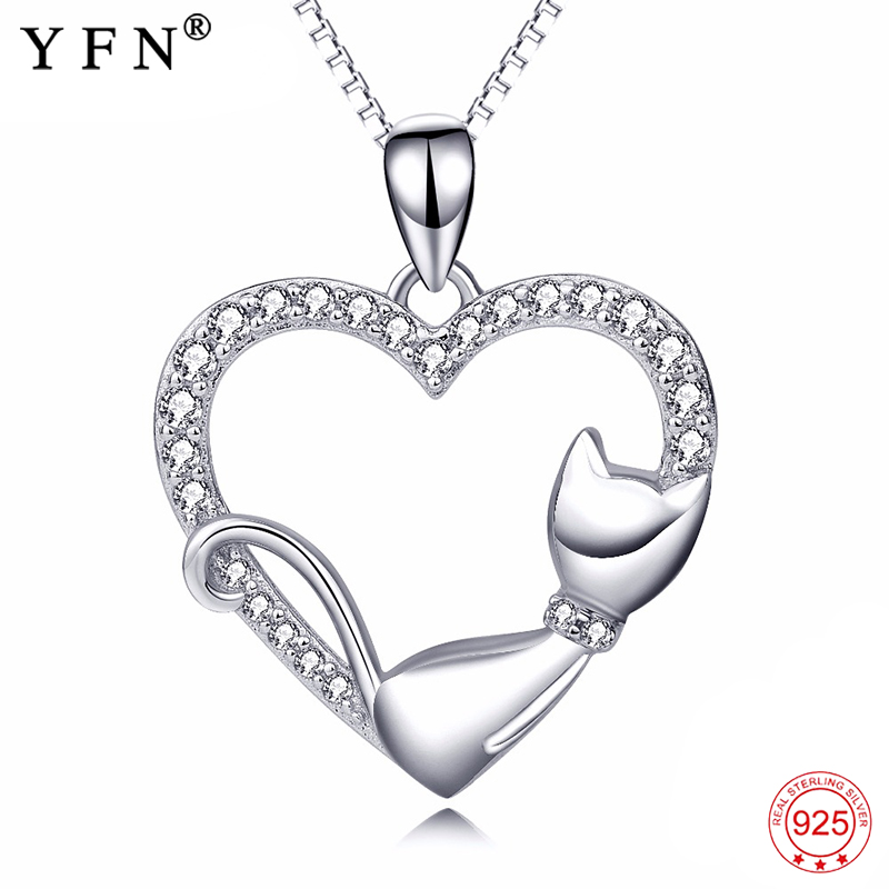 Genuine necklace crystal cz love heart pendants necklaces 925 genuine necklace crystal cz love heart pendants necklaces 925 sterling silver necklace cute cat charm jewelry for women gifts in pendant necklaces from aloadofball Gallery