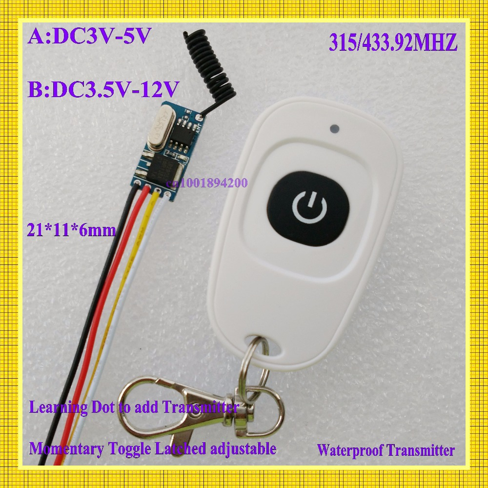 RF Circuit Remote Control Switch Mini Contactless Wireless Switch 3V 3.7V 4.2V 5V 6V 7.4V 9V 12V ASK Radio RC Switch Lighting