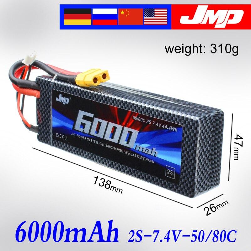 все цены на 2pcs JMP Lipo Battery 2S 6000mAh 7.4V Battery Pack 50C Battery for TRAXXAS SUMMIT E-REVO HPI FLUX онлайн
