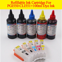 Refillable empty ink cartridge PGI550XL CLI551 XL+ 100ML PBK/BK/C/M/Y dye ink For canon  IP7250 IP8750 MG5450 MX725 MX925