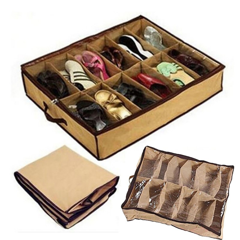 Box Shoe-Storage 12-Compartments Storage-Equipment Transparent Household Fabric Non-Woven