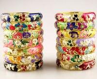 Wholesale Price 8 pcs Chinese Handmade Cloisonne Enamel Cuff Hollow Bracelet Bangle