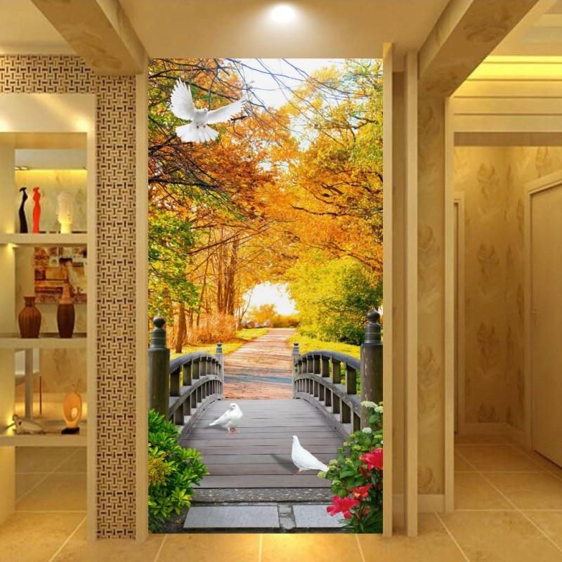 Free Shipping Golden Autumn Tree Bridge Mural Living Room Restaurant Cafe Lounge 3D Entrance Aisle Backdrop Wallpaper