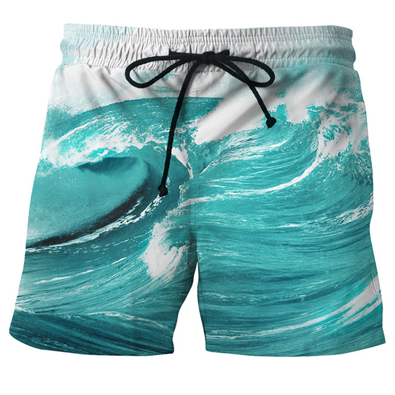 2018 Newest 3D Print Sea And Sky Wave Men   Shorts   Vacation Summer Casual   Board     Shorts   Beach Men Pants Elastic Breathable Dropship