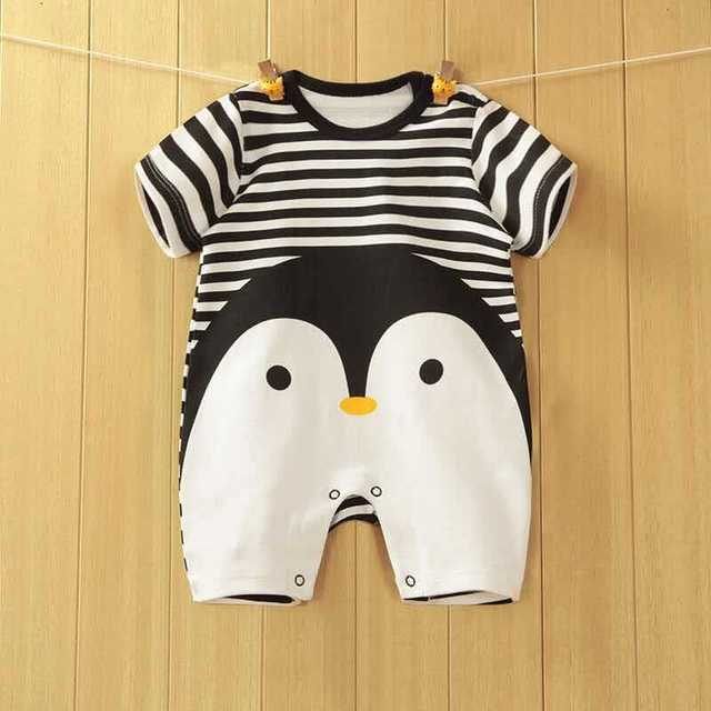 2019 New arrival Baby Rompers Cotton baby boy girl summer short sleeve costume penguin Jumpsuits Roupas Bebes Infant Clothing 1