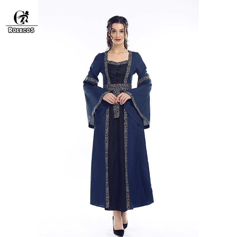 ROLECOS Clearance Sale Renaissance Medieval Dress Retro Women Costume Victorian Dress Halloween Party Vintage Long Dress