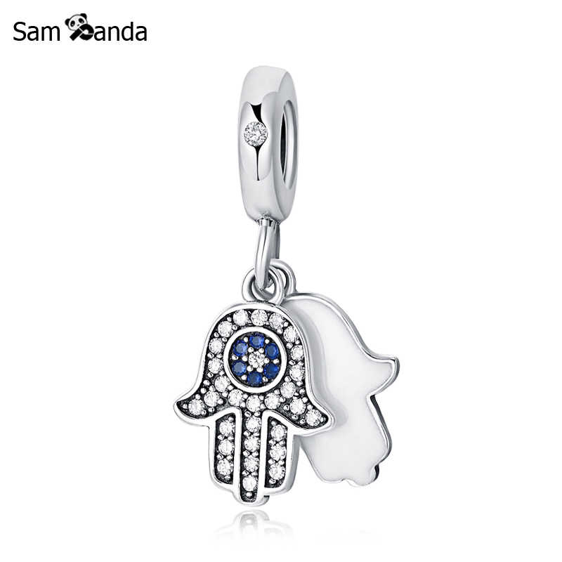 1e89029f7 New 100% 925 Sterling Silver Charm Bead Lucky Hamsa Hand Pendant Charms  Blue Crystals Fit